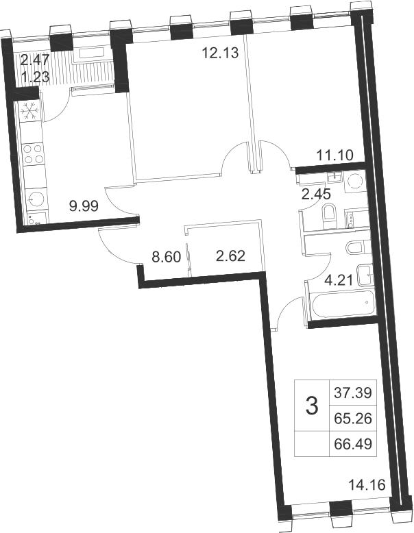 3-к.кв, 67.72 м²