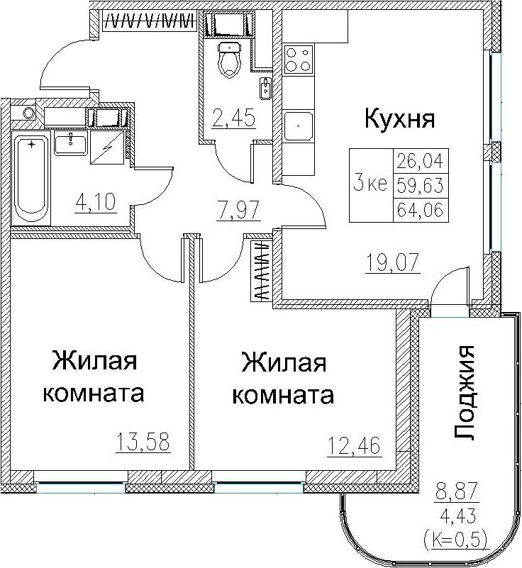 3Е-к.кв, 64.06 м², от 3 этажа