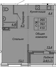 2Е-к.кв, 41 м², 2 этаж