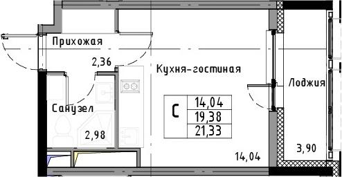 Студия, 21.33 м², 10 этаж