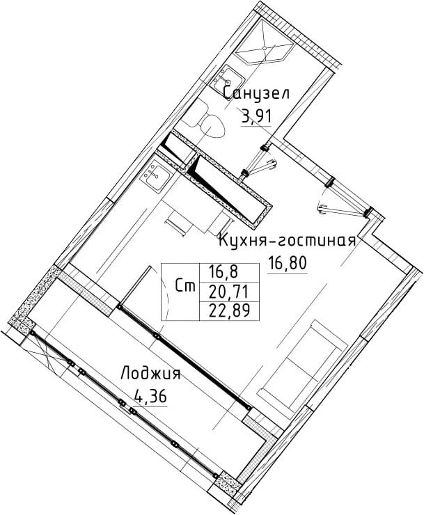 Студия, 22.89 м²– 2