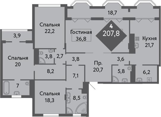 4-к.кв, 219.2 м²