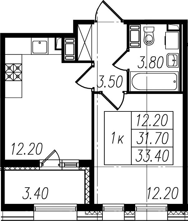 1-к.кв, 35.1 м²