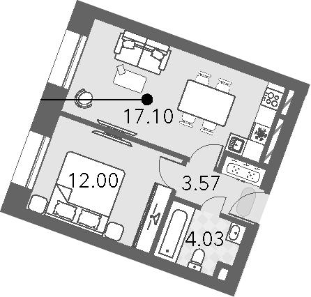 2Е-к.кв, 36.6 м², от 4 этажа