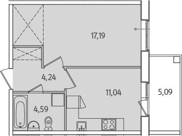 1-к.кв, 42.15 м²