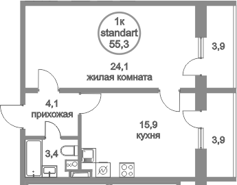 2Е-к.кв, 55.3 м²
