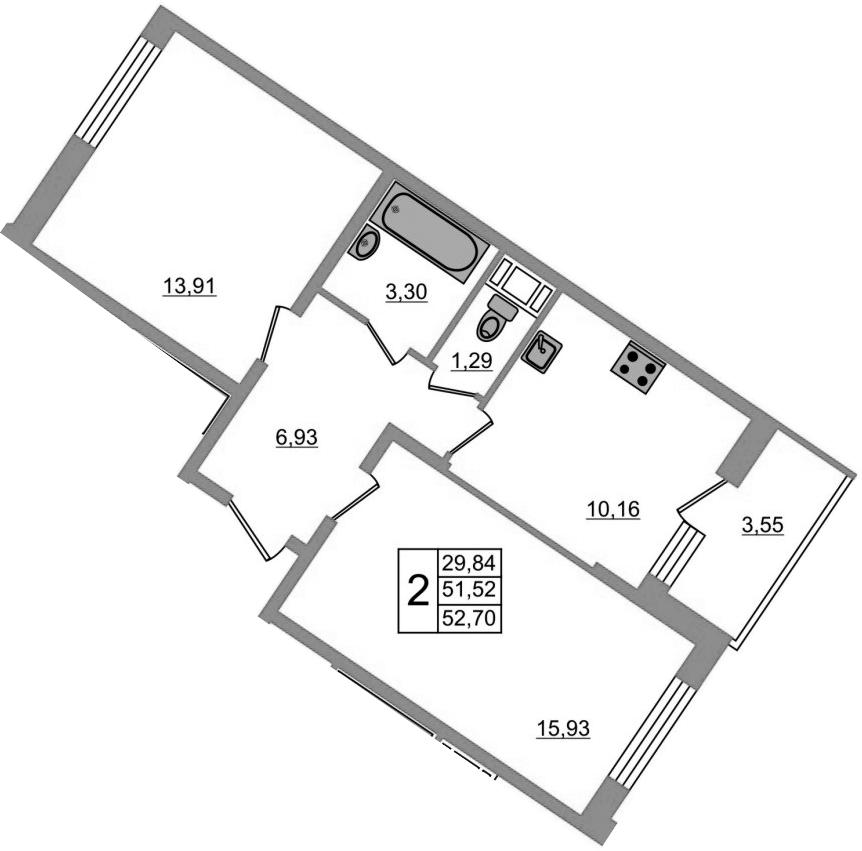 2-к.кв, 55.56 м²