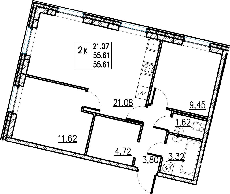 3Е-комнатная, 55.61 м²– 2