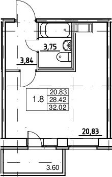 Студия, 28.42 м², от 12 этажа