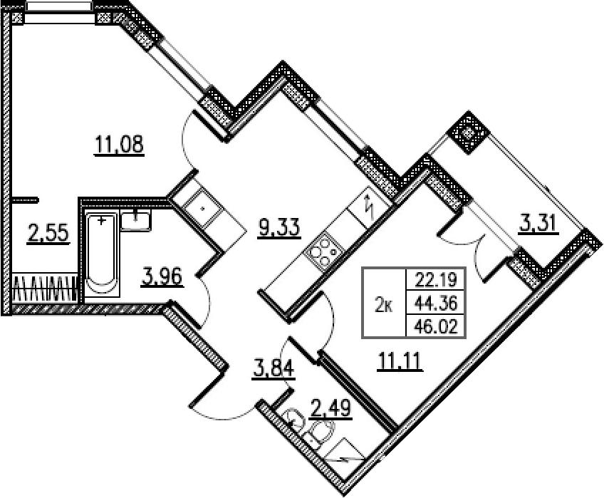 2-комнатная, 46.02 м²– 2
