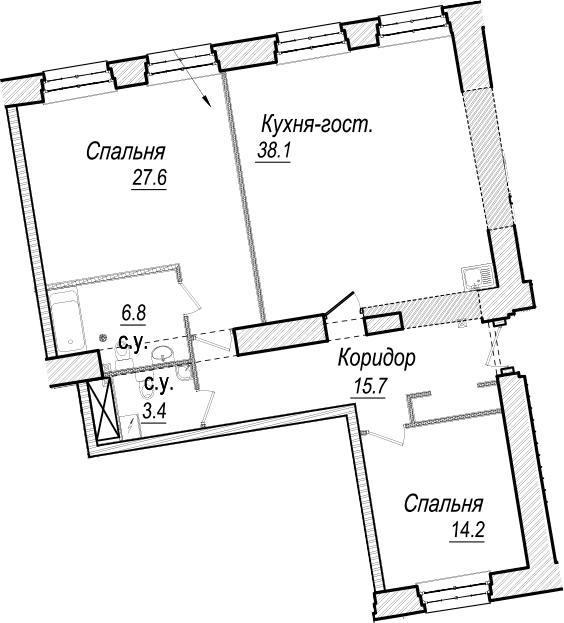 3Е-к.кв, 105.8 м², 3 этаж