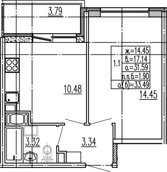 1-к.кв, 35.38 м²