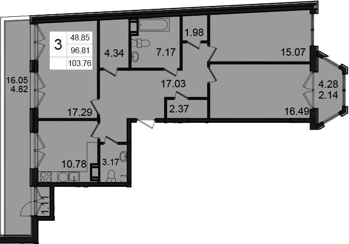 3-комнатная, 103.76 м²– 2
