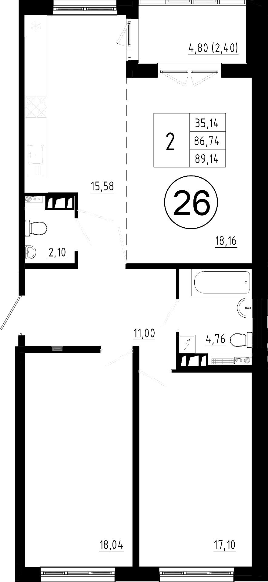 3Е-комнатная, 86.74 м²– 2