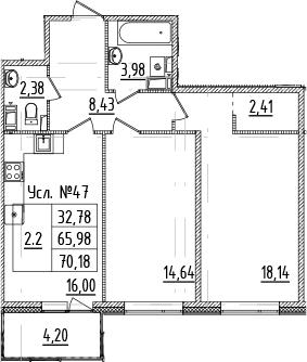 3Е-к.кв, 65.98 м²