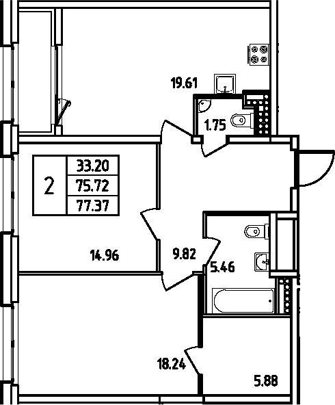 3Е-комнатная, 77.37 м²– 2