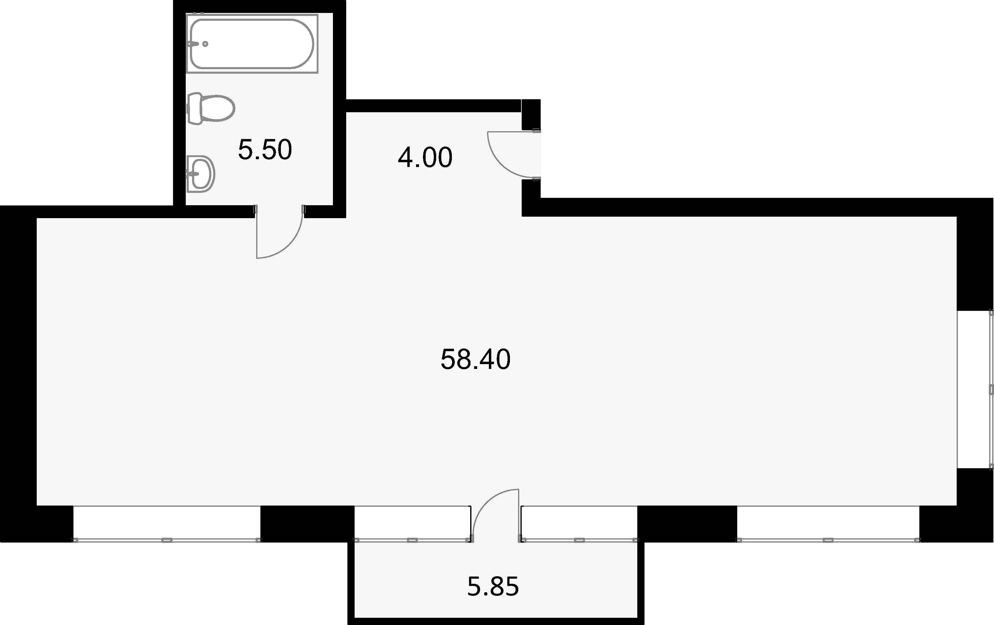 Своб. план., 69.4 м², 2 этаж