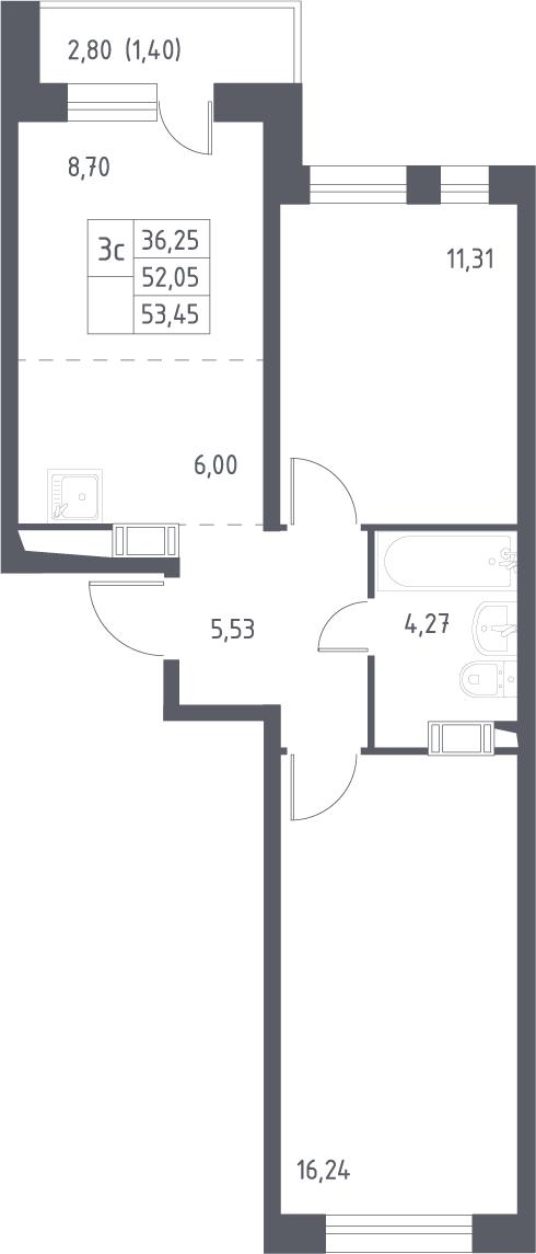 3Е-к.кв, 53.45 м², 15 этаж
