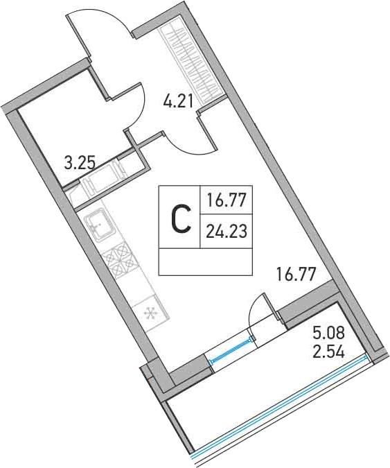 Студия, 29.31 м²