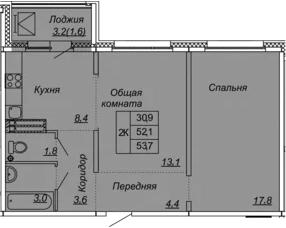 2-к.кв, 53.7 м², от 13 этажа