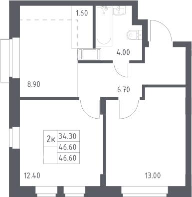 2-к.кв, 46.6 м²
