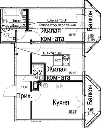 2-комнатная, 67.74 м²– 2