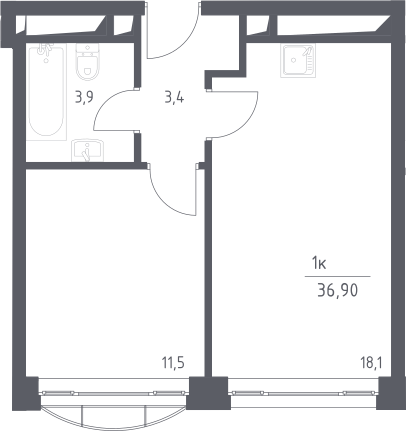 2Е-к.кв, 36.9 м², 18 этаж