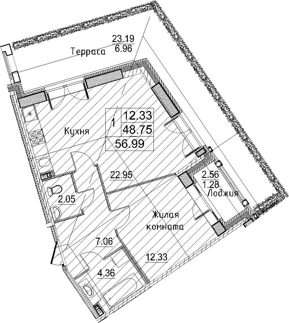 1-к.кв, 74.51 м²
