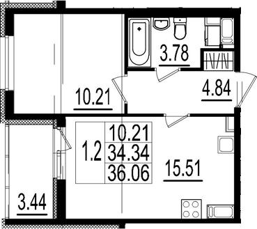 2Е-комнатная, 34.34 м²– 2