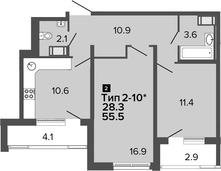 2-к.кв, 55.5 м², от 10 этажа