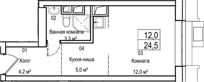 Студия, 24.5 м²– 2