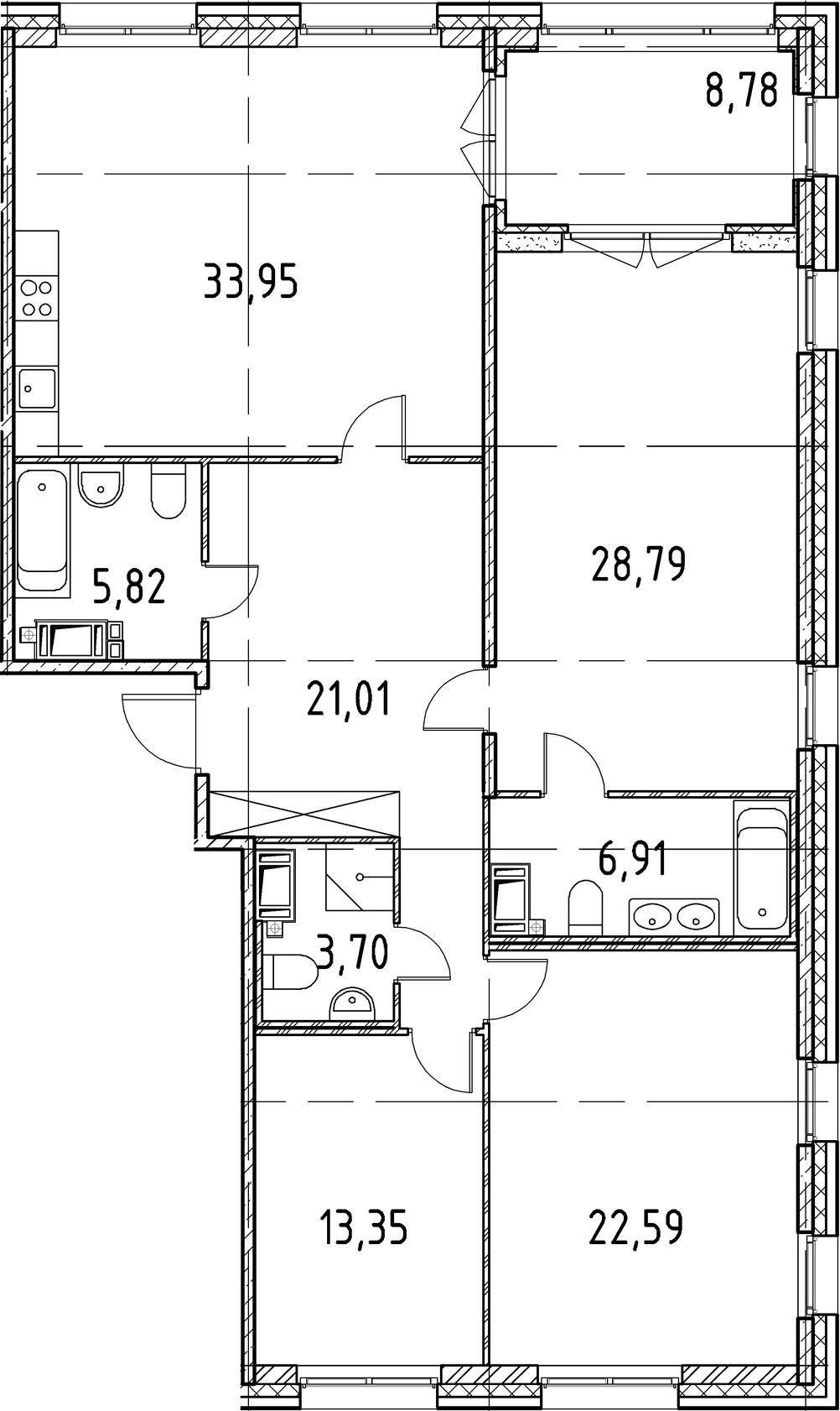 3-к.кв, 136.12 м², 3 этаж