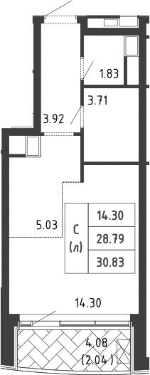 Студия, 30.7 м²