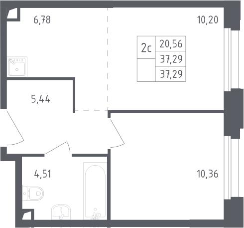 2Е-комнатная, 37.29 м²– 2