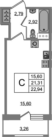 Студия, 22.94 м²