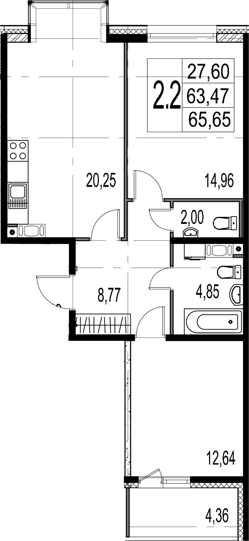 3Е-комнатная, 63.47 м²– 2