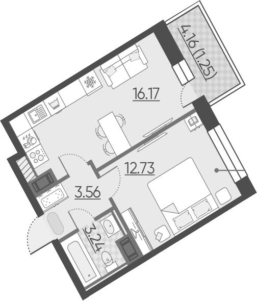 2-к.кв (евро), 39.87 м²