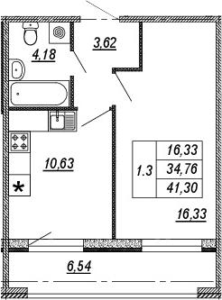 1-к.кв, 34.76 м², 1 этаж
