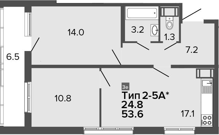 3Е-к.кв, 53.6 м², от 20 этажа