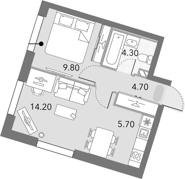 2Е-комнатная, 38.7 м²– 2
