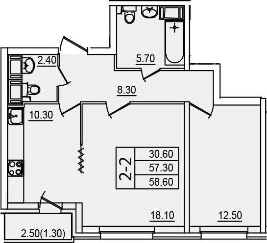 2-к.кв (евро), 59.9 м²