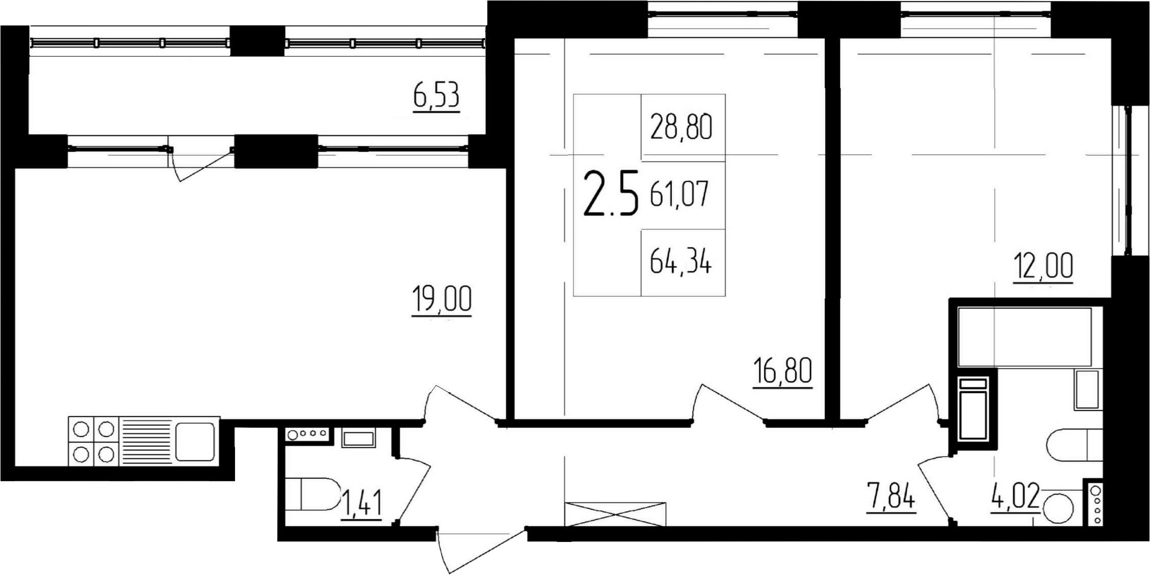 3-к.кв (евро), 67.6 м²