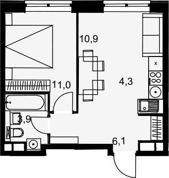 2Е-к.кв, 36.2 м², 17 этаж
