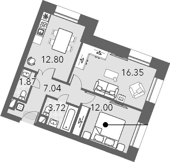 2-к.кв, 53.78 м²