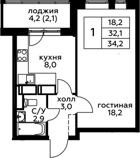 1-комнатная, 34.2 м²– 2