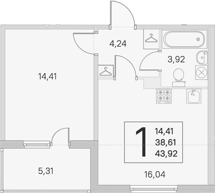 2Е-комнатная, 38.61 м²– 2