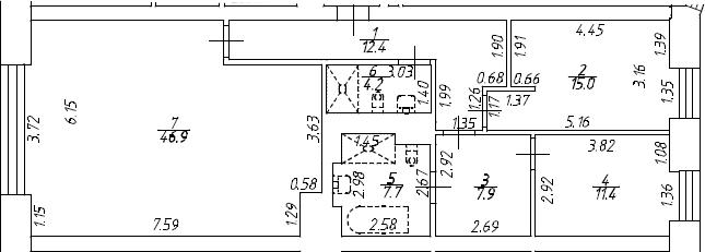 3Е-комнатная, 105.5 м²– 2