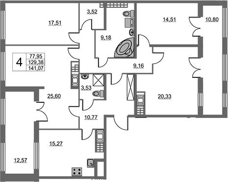 4-к.кв, 129.38 м²
