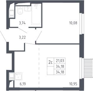 2Е-комнатная, 34.18 м²– 2