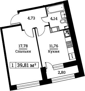 1-комнатная, 39.81 м²– 2